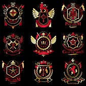 Vector classy heraldic Coat of Arms. Collection of blazons