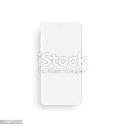Vector clay smart phone mockup. Front view.