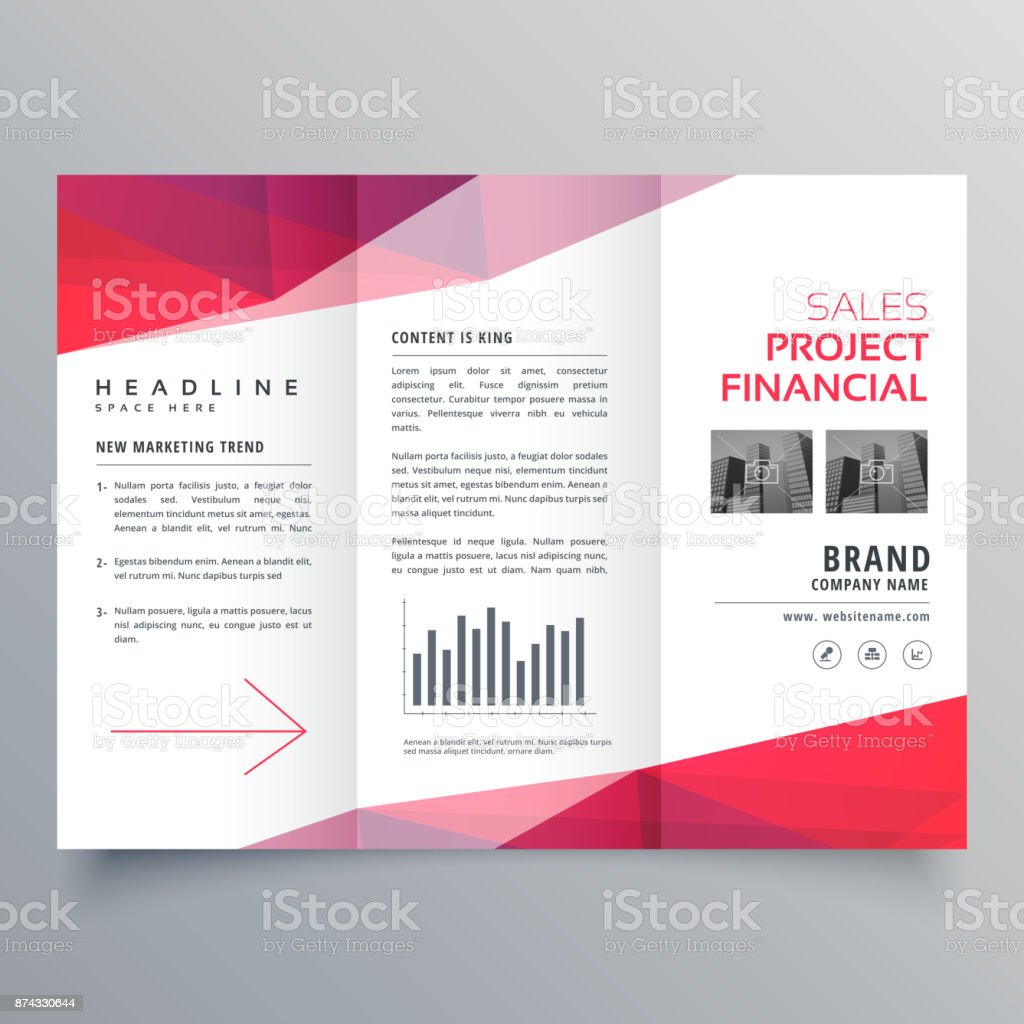 vector clean red trifold business brochure design template vector art illustration