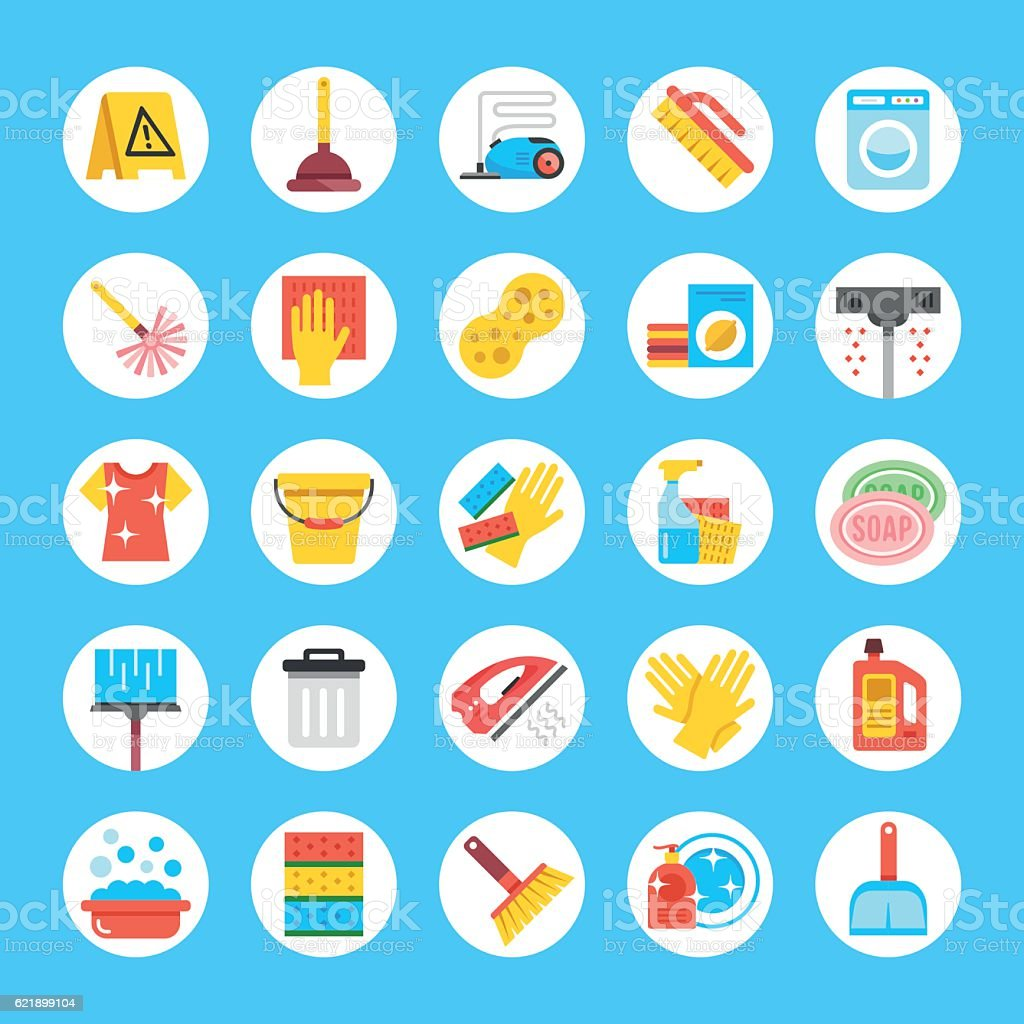Vector cleaning icons set. Flat round icons. Household supplies, equipment – Vektorgrafik