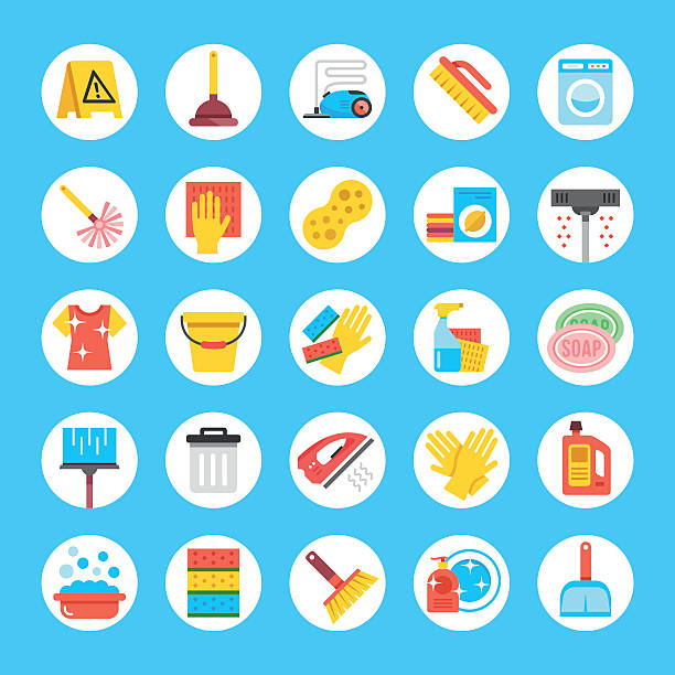 vector cleaning icons set. flat round icons. household supplies, equipment - hausarbeit stock-grafiken, -clipart, -cartoons und -symbole