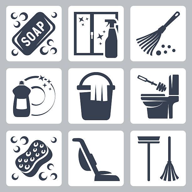Vector cleaning icons set vector art illustration
