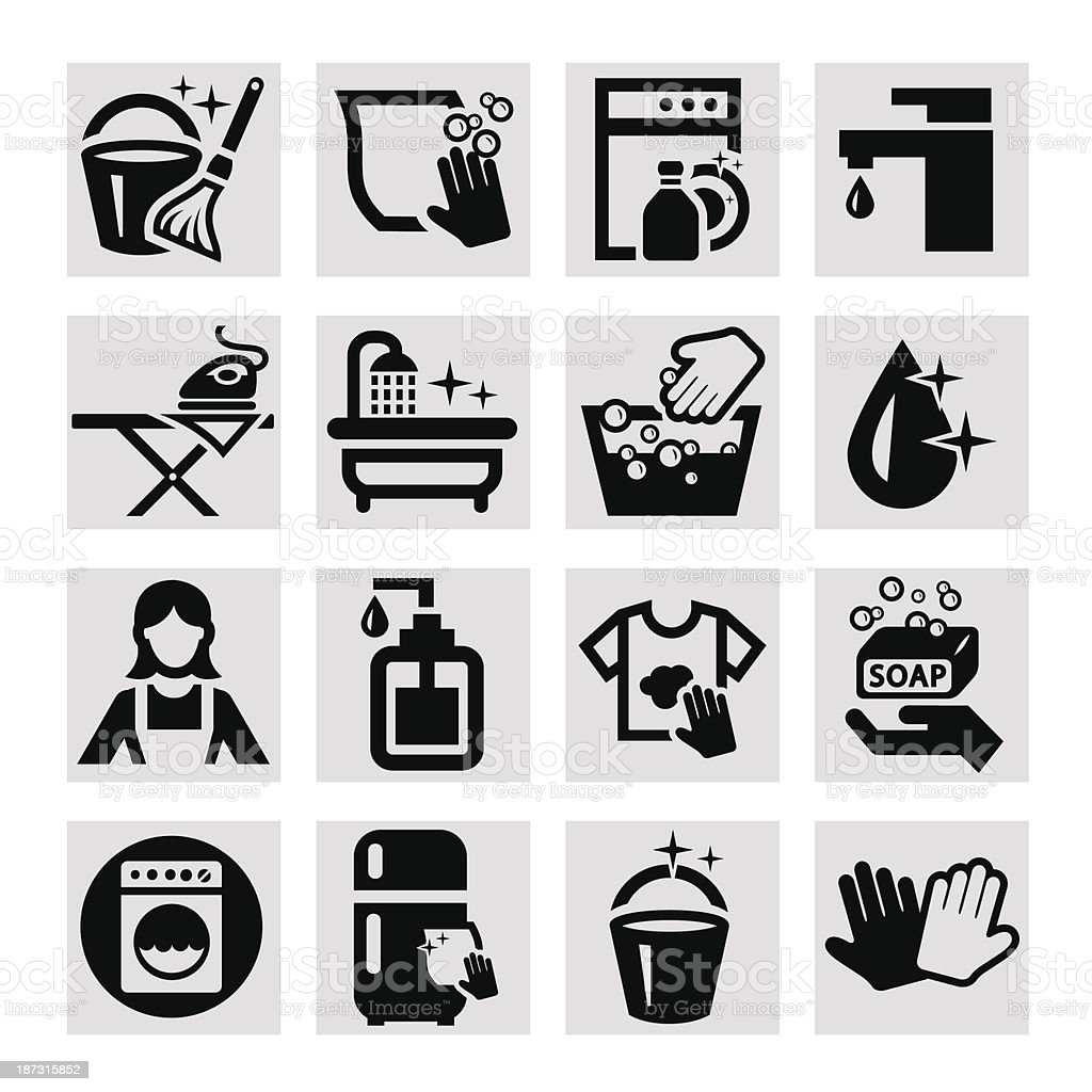 vector cleaning icons vector art illustration