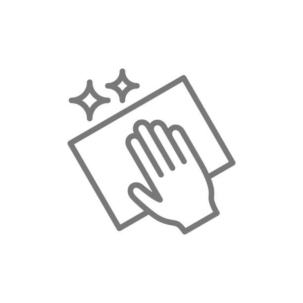 bez çizgi simgesi ile vektör temizleme. - cleaning stock illustrations
