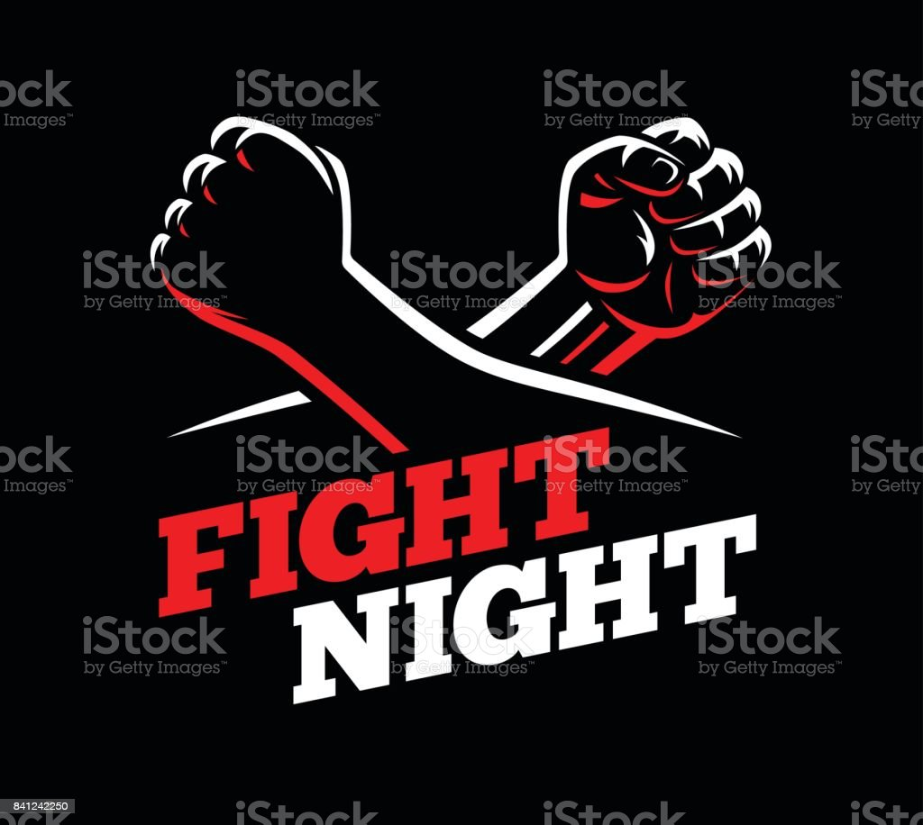 Vector clenched fists fight MMA, kick boxing, karate sport night cage show illustration on dark background. vector art illustration
