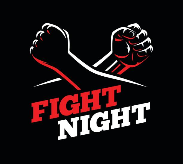 vector clenched fists fight mma, kick boxing, karate sport night cage show illustration on dark background. - martial arts stock illustrations