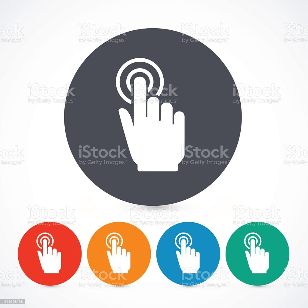 Vector click hand icons isolated. Circle touch screen symbols.