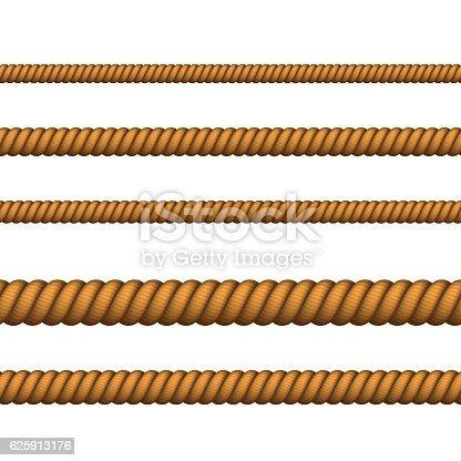 Navy rope of different color for border or frame. Vector Nautical rope thin and thick. Climbing twisted rope for lasso or marine knots.