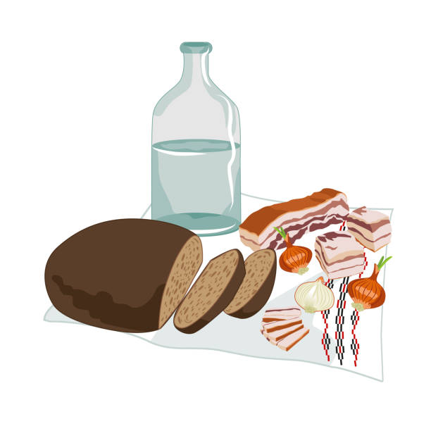 Vector clipart of Ukrainian Horilka with salo, rye bread, and onions on the embroidered rushnyk vector art illustration