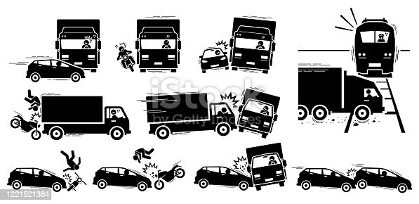 istock Vector cliparts of road accident between car, motorcycle, lorry, and train. 1221521384