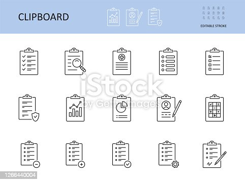 Vector clipboard icon. Editable stroke. To-do list, check sheet and pencil pen. Icons registration form, test questionnaire survey. Checklist with gears magnifier graph chart, data protection privacy.