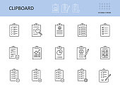 istock Vector clipboard icon. Editable stroke. To-do list, check sheet and pencil pen. Icons registration form, test questionnaire survey. Checklist with gears magnifier graph chart, data protection privacy 1266440004