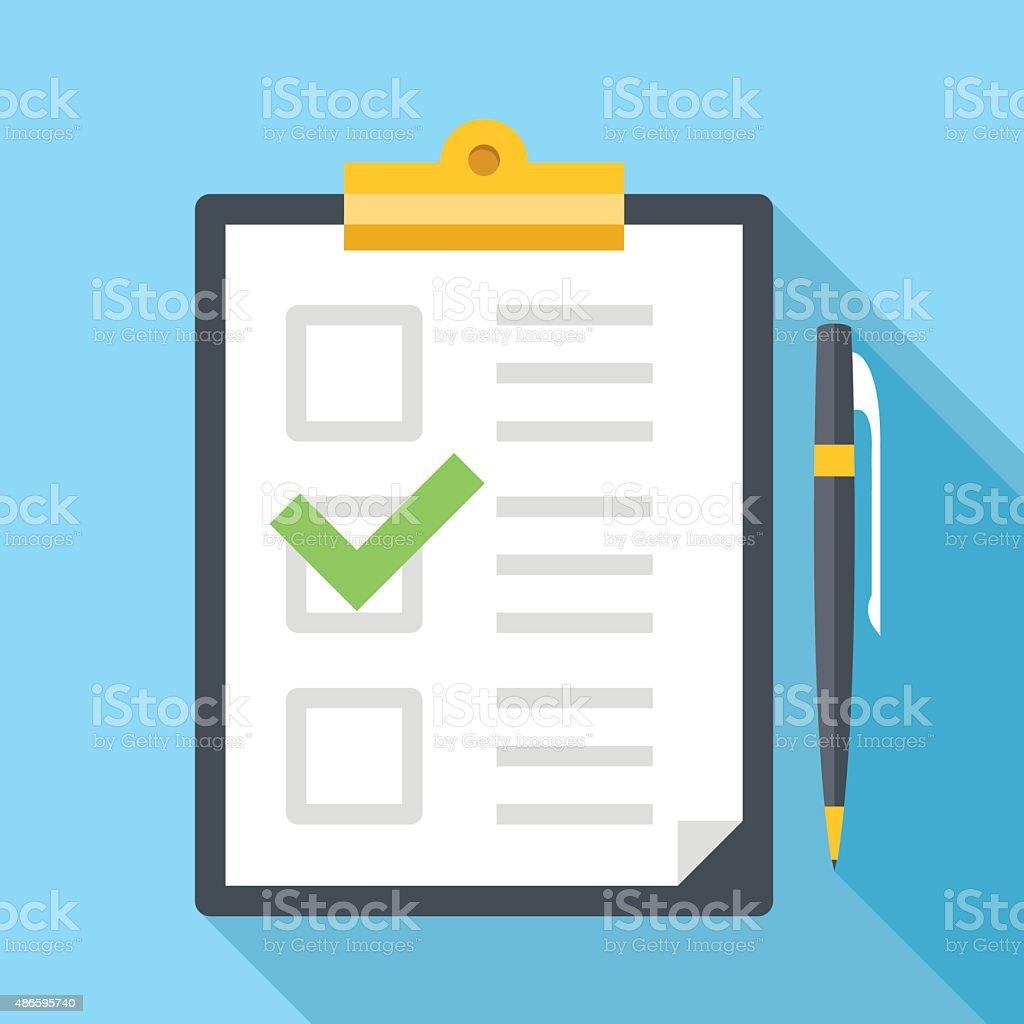 Vector clipboard with pen and checklist icon vector art illustration