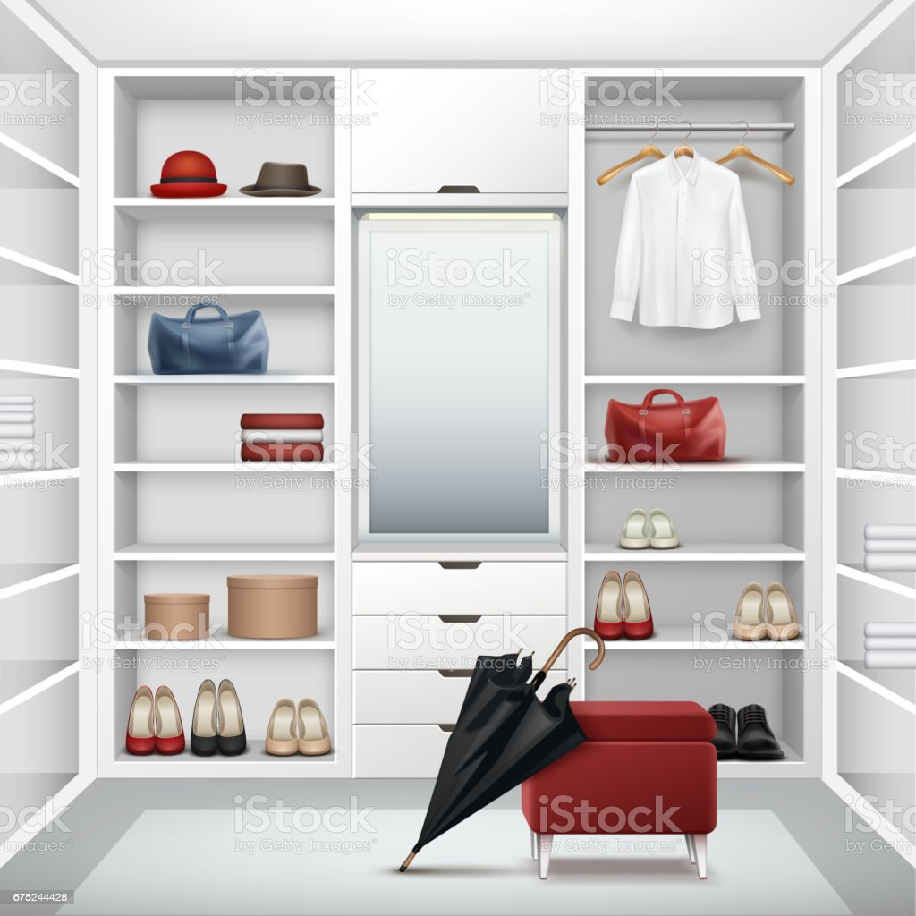 Vector Cloakroom closet vector art illustration