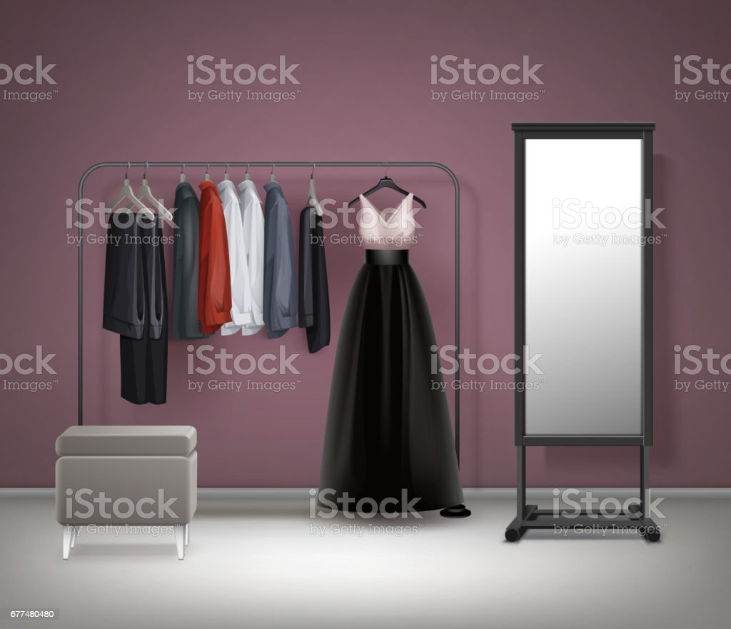 Vector Cloakroom interior front view vector art illustration