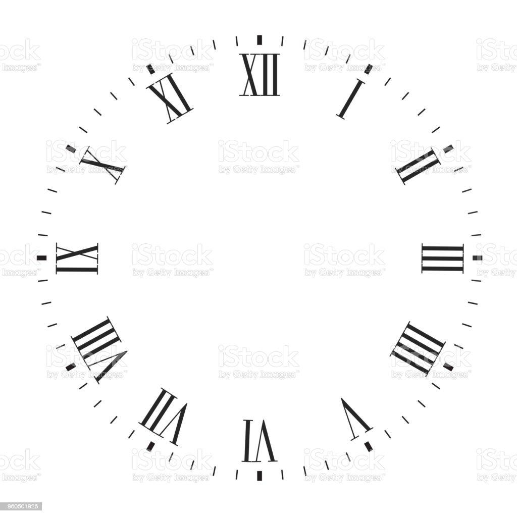 ベクトルの時計の文字盤のローマ数字と空白