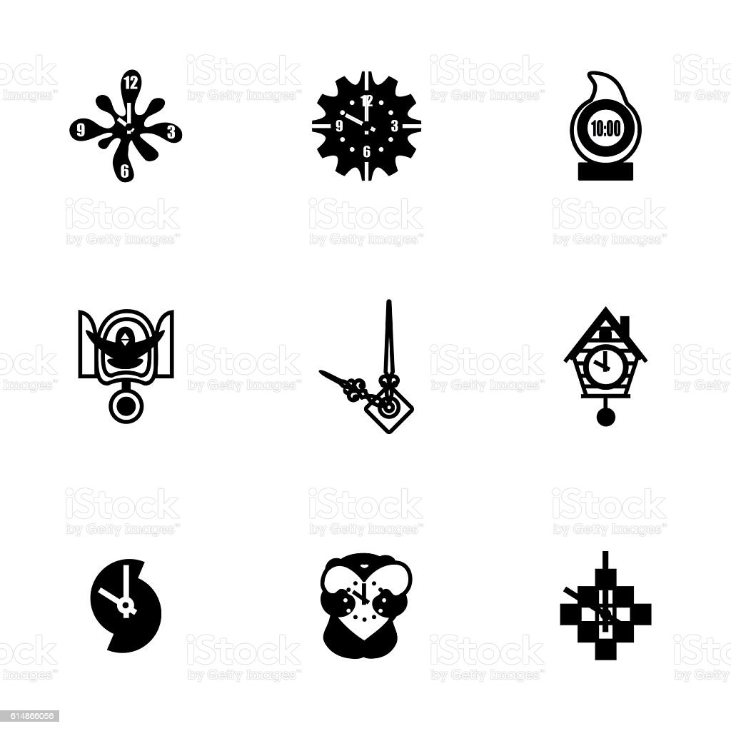 Vector Clock icon set vector art illustration