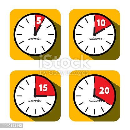 Vector Clock Set. Five, Ten, Fifteen and Twenty Minutes Timer Symbols. Vector Flat Design Time Icons.