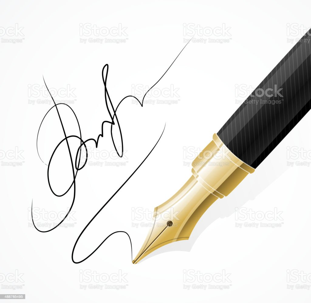 Vector Close up of a fountain pens and signature vector art illustration