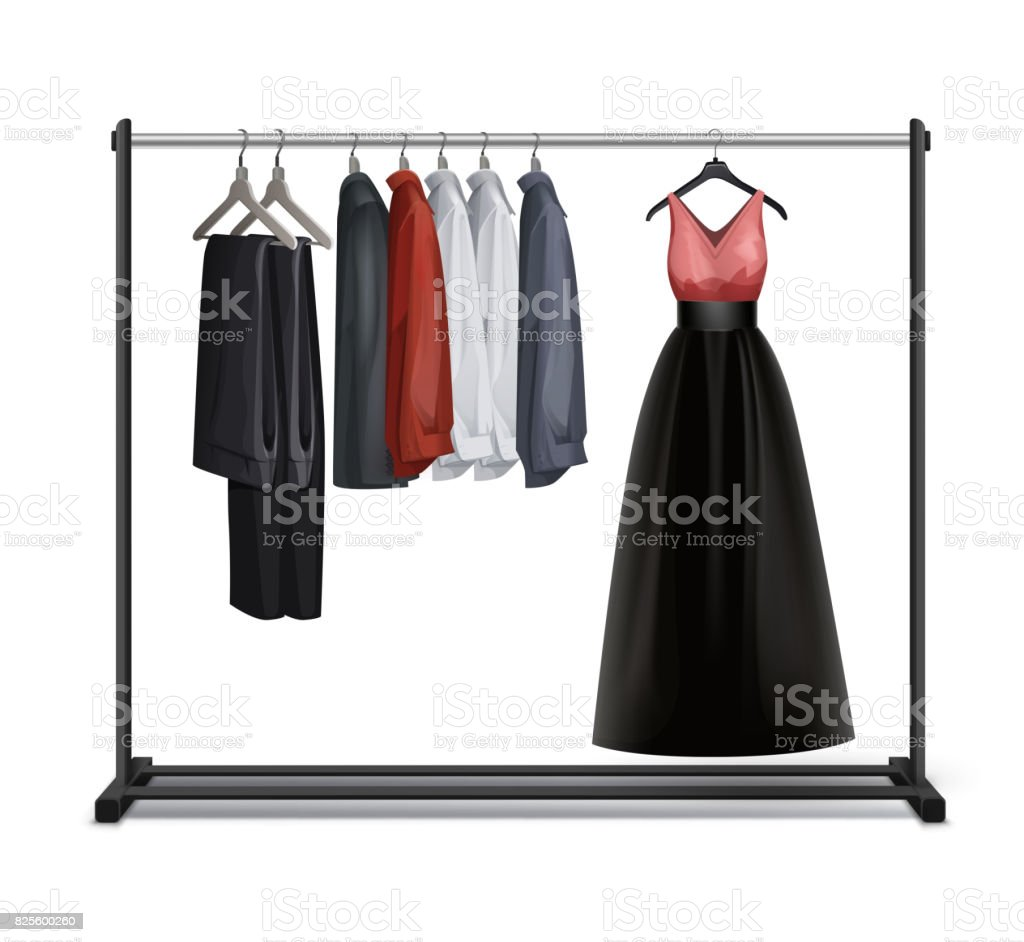 Vector clothes rack vector art illustration