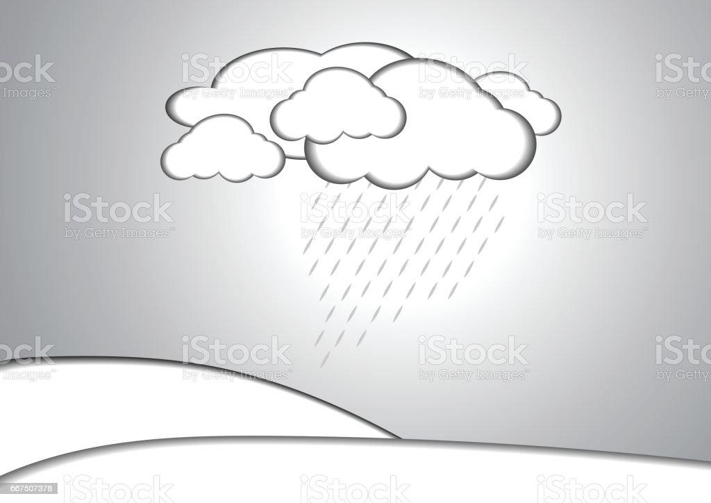 Vector : Cloud and rain paper style background vector cloud and rain paper style background - immagini vettoriali stock e altre immagini di acqua royalty-free