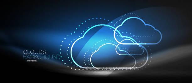Vector computação em nuvem, conceito de armazenamento - ilustração de arte em vetor