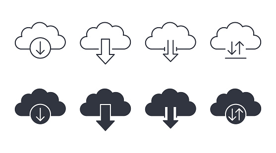 Vector cloud download icons. Linear filled marks editable strokes. Download, upload on the site and in the application, settings and preferences symbols.