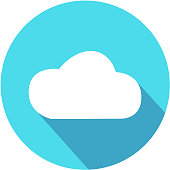 Vector Cloud Flat Icon with long shadow