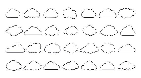 Vector cloud icons. Editable stroke. Set of 28 sign line art. Meteorology weather forecast interface element, information cloud storage database. Internet communication network saving data.