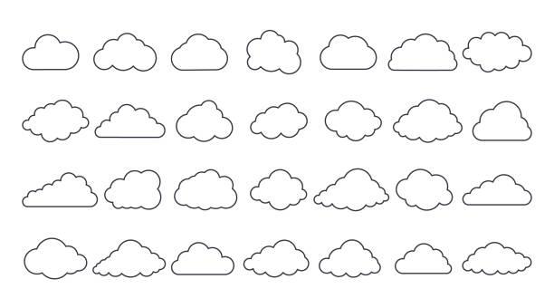 벡터 클라우드 아이콘입니다. 편집 가능한 스트로크. 28 개의 사인 라인 아트 세트. 기상 예보 인터페이스 요소, 정보 클라우드 스토리지 데이터베이스. 데이터 저장 인터넷 통신 네트워크 - 구름 stock illustrations