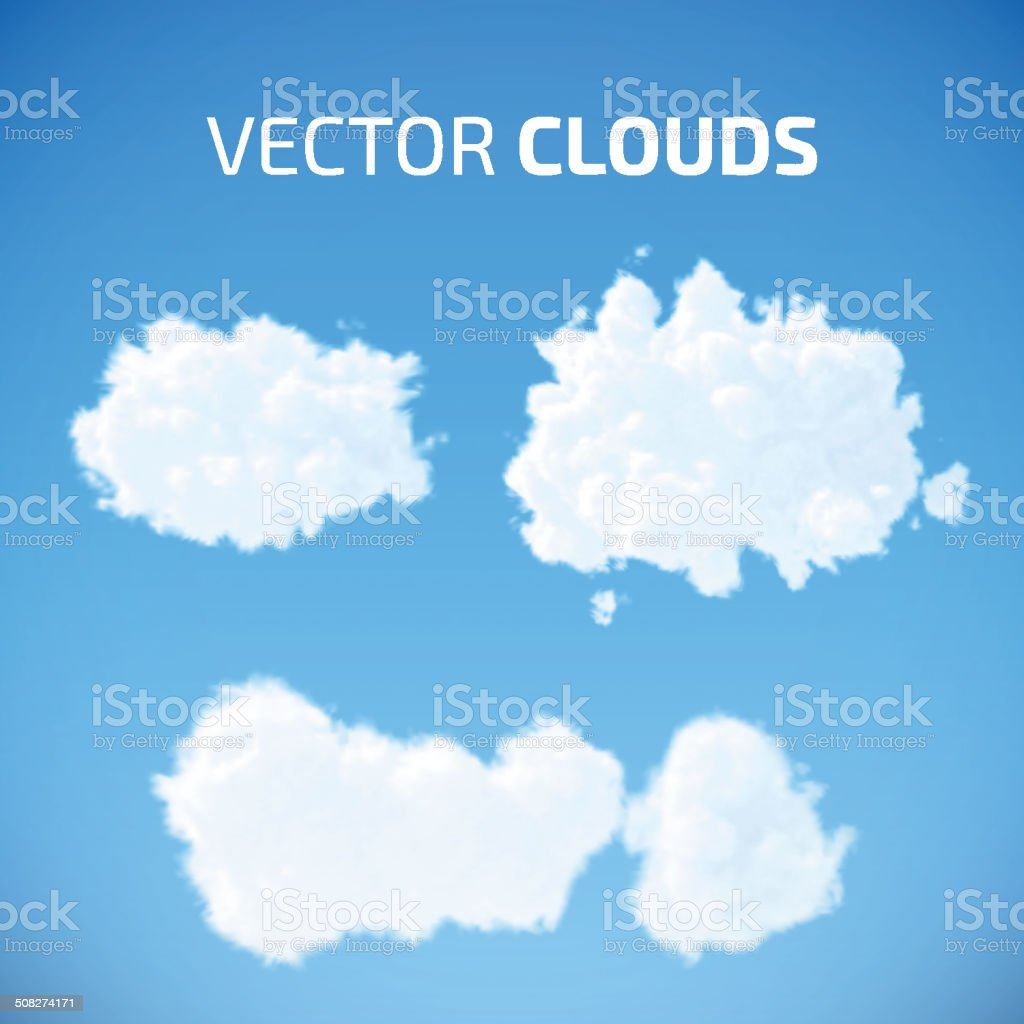 Vector cloud set. Blue sky with clouds. vector art illustration