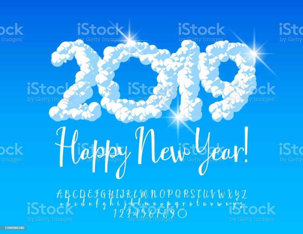 vector cloud snow happy new year 2019 greeting card with alphabet royalty free vector cloud