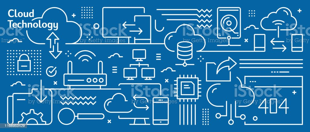 Vector Cloud Technology Banner Design in Trendy Linear Style. Line...
