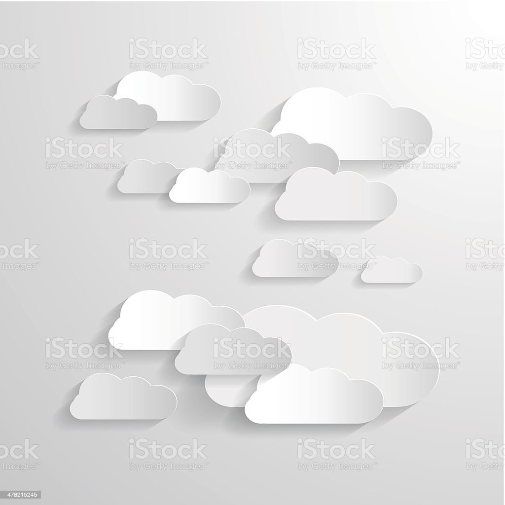 Vector Clouds Cut From Paper vector art illustration