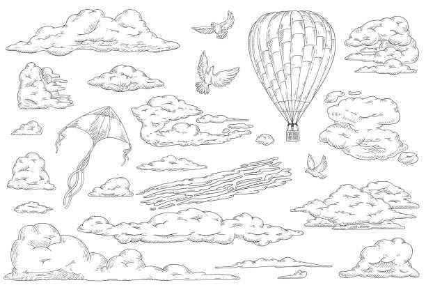 vector clouds dove pegeon hot air balloon kite set - hot air balloon stock illustrations