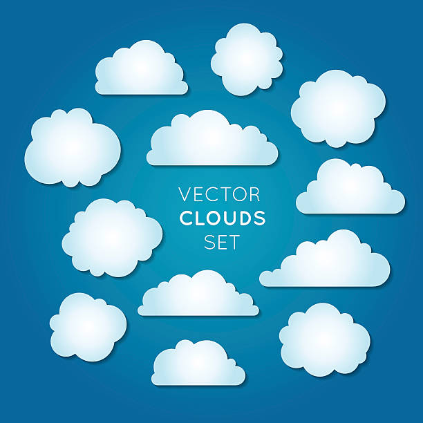 vector clouds set - blue clipart stock illustrations
