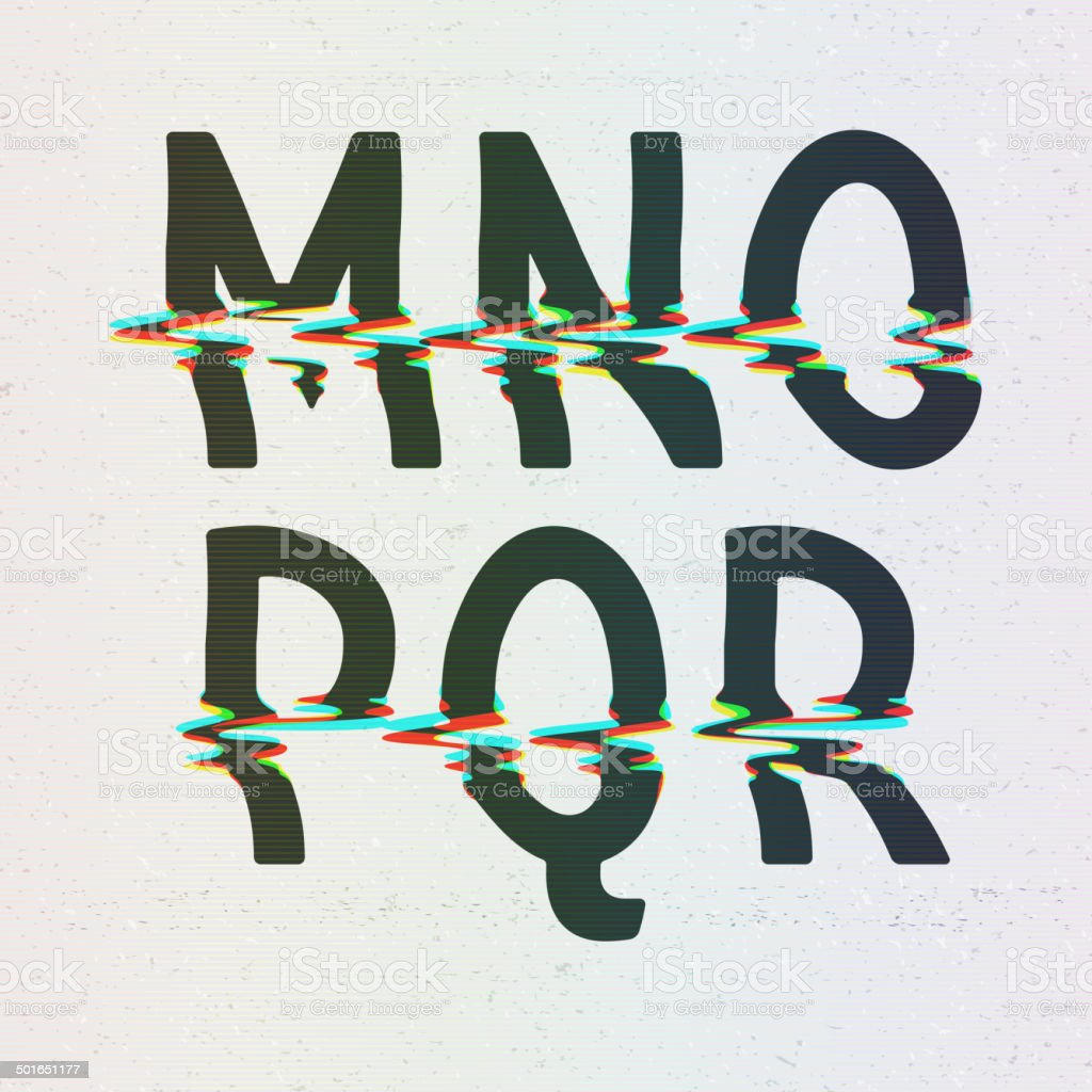 Vector CMYK Print Distortion Font from M to R vector art illustration