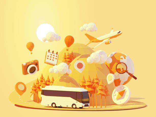 Vector coach bus travelling vector art illustration