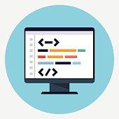 Vector coding icon