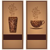 Vector coffee background with floral pattern elements. Template for card or menu. Elegant coffee vector elements. Design elements.