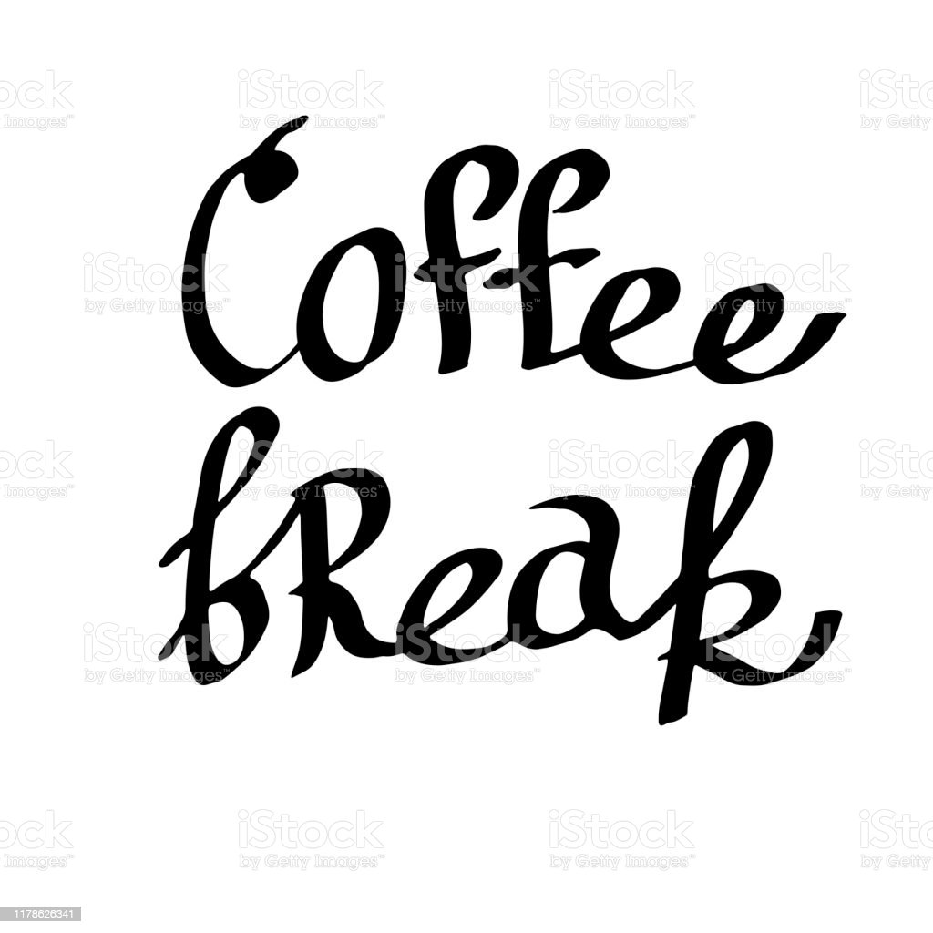 Vector Coffee break handwriting monogram calligraphy. Black and white...