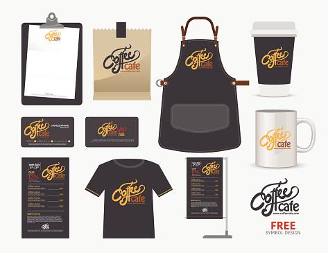 Vector coffee cafe restaurant set, T-Shirt