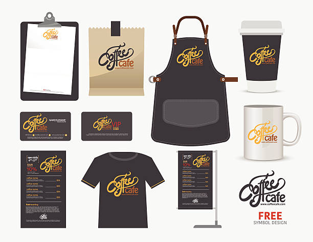 Vector coffee cafe restaurant set, T-Shirt Vector coffee cafe restaurant set, T-Shirt, menu, namecard and free symbol design. apron stock illustrations