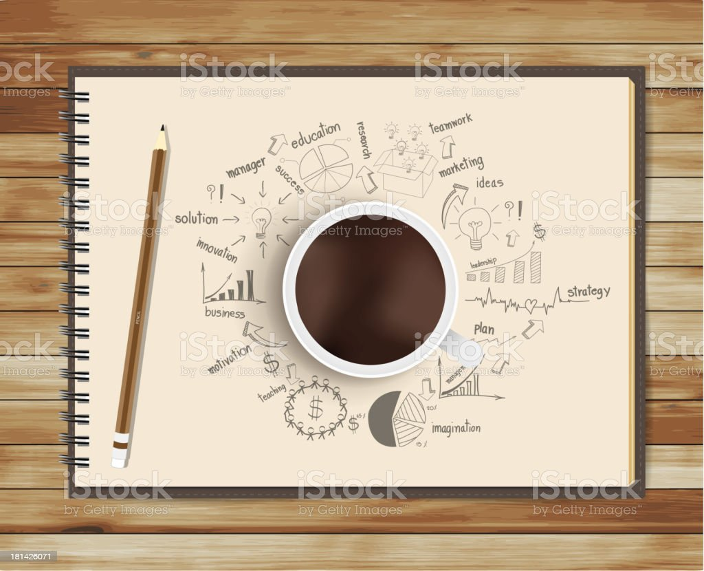 Vector coffee cup with notebook and drawing business strategy plan vector art illustration