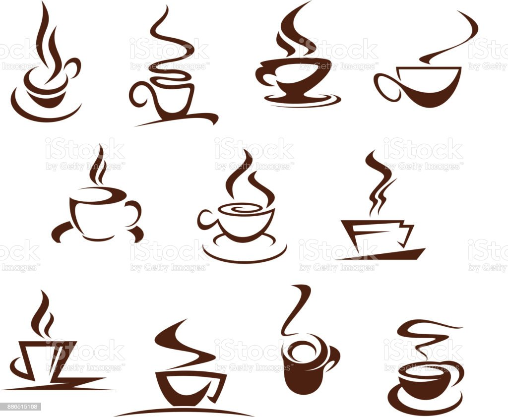 Vector coffee cups for cafeteria cafe icons set vector art illustration
