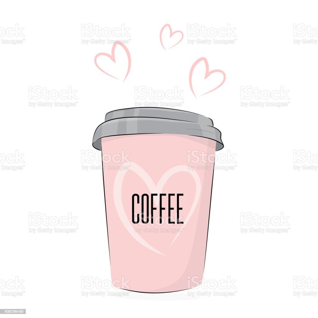 ベクトルのコーヒーを飲むかわいい食べ物イラスト 素敵なテキストと行く