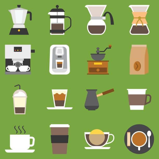 vektor kaffee-methode-set - küchensystem stock-grafiken, -clipart, -cartoons und -symbole