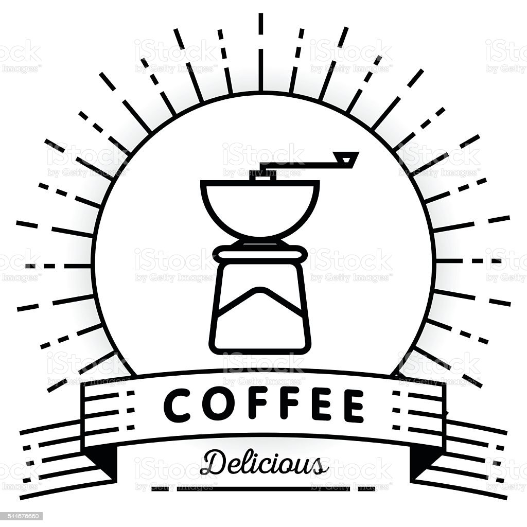Vector Coffee Mill Icon with Linear Style vector art illustration