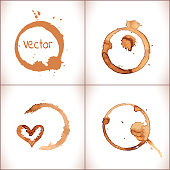 Coffee paint stains  isolated on white background.Coffee cup marks. Vector coffee set.
