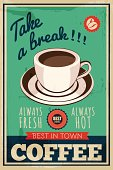 vintage coffee shop poster, vector illustration